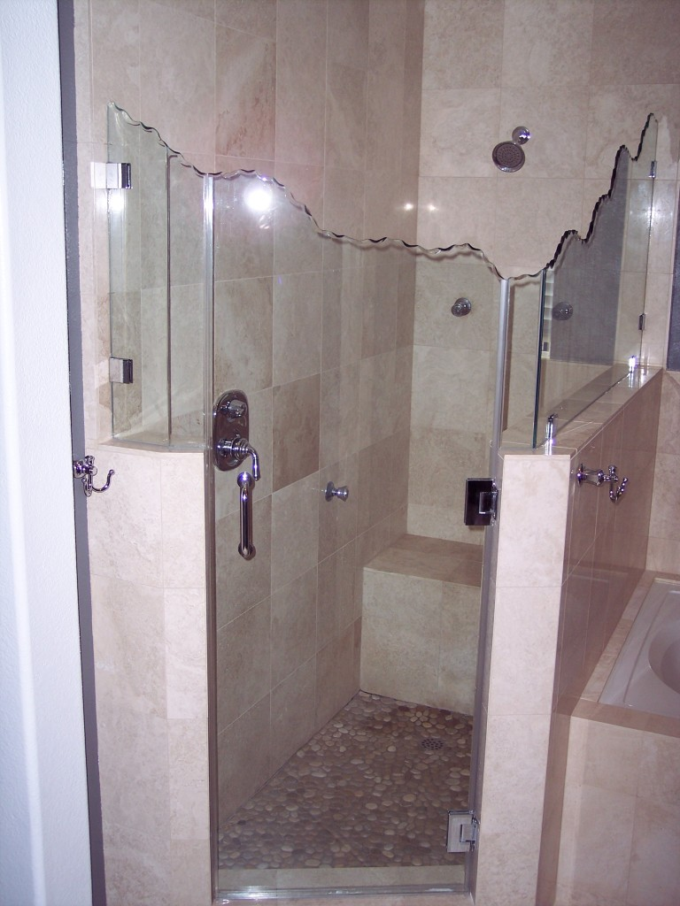 Shower glass door hinges - Heavy Glass Panel And Door With Chipped Top And Clips