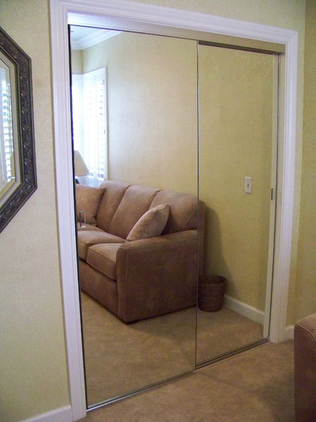 Frameless Mirror Wardrobe Doors In Brushed Nickel Finish